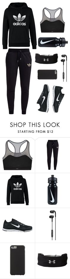 """""""Exercise"""" by hannah-ducky ❤ liked on Polyvore featuring Victoria's Secret, adidas Originals, NIKE, Skullcandy, Case-Mate and Under Armour"""