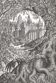 One of illustrator Andrew Davidson's beautiful hand engraved designs for a Harry Potter box set aimed at adults.