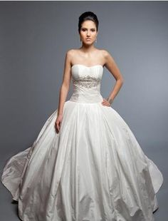 Strapless Princess/Ball Gown Wedding Dress with Dropped Waist in Silk Taffeta.   Bridal Gown Style Number:32504961