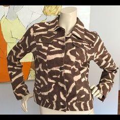 RL Medium Giraffe Animal Print Safari Denim Jacket