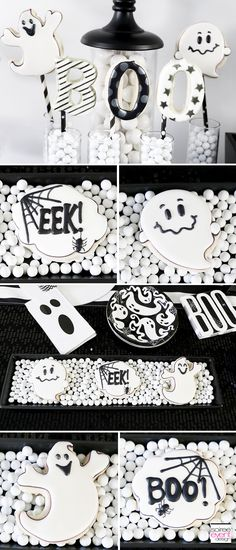 Black and White Halloween Party - ghost cookies