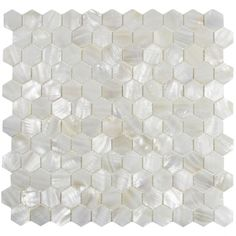 """Mother of Pearl Arctic Oyster White pearl shell 1""""x 1"""" Hexagon polished mosaic tile"""