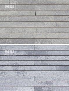 Gevelsteen: MBI GeoStylistix Shaded White en Shaded Grey Light (Goed: gevelstenen liggen verticaal tegen elkaar)