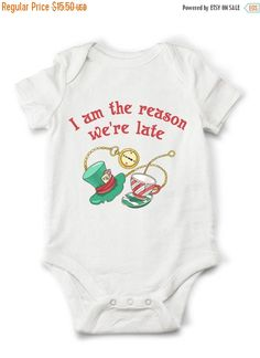 Alice in Wonderland onesie - I'm the reason we're late, funny baby clothes, funny onesie, cute gift for boy or girl
