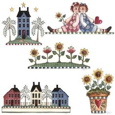 Album Archive - Decorativos country diversos Doodle Drawings, Cute Drawings, Primitive Country Crafts, 2 Clipart, Primitive Patterns, Faux Painting, Borders For Paper, Country Art, Craft Fairs