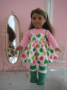 18 inch American Girl Doll Clothes /Christmas dress by MenaBella, $27.95