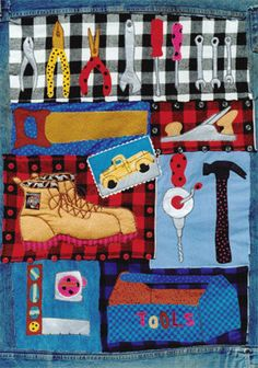 Truckload O' Tools applique quilt sewing pattern