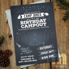 Backyard Campout Birthday Invitation - Digital Printable