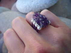 Amethyst Pearl Ring Sterling Silver by AlissaBcustomjewelry