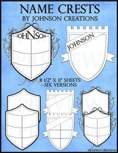 "Name Crests from Johnson Creations on TeachersNotebook.com - (8 pages) - These crests are a great ""Getting to Know You"" activity for the beginning of the year. They also make an attractive bulletin board for ""Back to School"" nights and Open Houses. The crests can be a homework assignment and/or put together into a class book."
