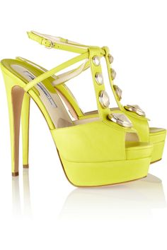 Brian Atwood Cliza Studded Suede and Leather Sandals in Yellow (Chartreuse) | Lyst