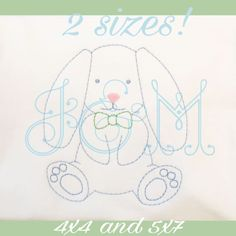 THIS IS A DIGITAL PRODUCT. YOU WILL NEED AN EMBROIDERY MACHINE AND MEANS TO TRANSFER THE DESIGN TO USE IT. This sweet little sketch bunny comes in 4x4 and 5x7 hoop and comes in PES, EXP, XXX, JEF, HUS, AND DST If you have any issues with the design, please let me know. If you would like