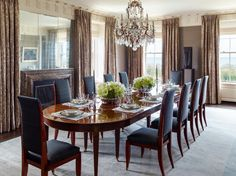 Lakeview Residence Dining Room Dining Contemporary by Suzanne Lovell Inc Teak Dining Table, Dining Room Furniture, Oak Panels, Beautiful Dining Rooms, Dining Room Lighting, Dining Room Design, Room Set, Contemporary Furniture, Interior Design
