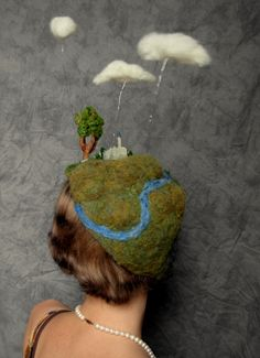 Needle Felted Hat Miniature Landscape of clouds by RaeStimson