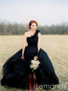 black one shoulder ball gown taffeta and by Lemandyweddingdress, $285.00