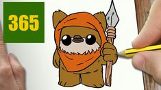 HOW TO DRAW A EWOK CUTE, Easy step by step drawing lessons for kids
