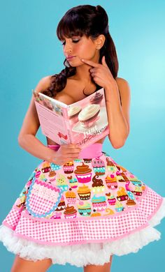 Sexy Pin Up Girl Cupcake | Custom Order for RoseBonBon- Lets Bake Cupcakes Apron in Sexy Pink - 4 ...