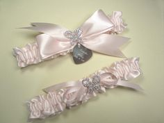 Butterfly Wedding Garter Set in Your Color Choice with Rhinestone Butterflies and Personalized Engraving