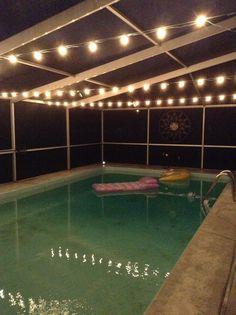 Pool Lights. & Lanai lights over a pool deck by Tampa Lights | Lanai Lighting ...