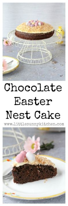 A simple but pretty coconut chocolate Easter nest cake...