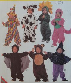 """Toddlers' Costume Sewing Pattern/Cow,Flower,Clown,Witch,Dinosaur,Bat,Bear/McCall's easy to sew 8870/Size 2,3,4/Chest 20-23""""/Halloween/ Uncut by RedWickerBasket on Etsy"""