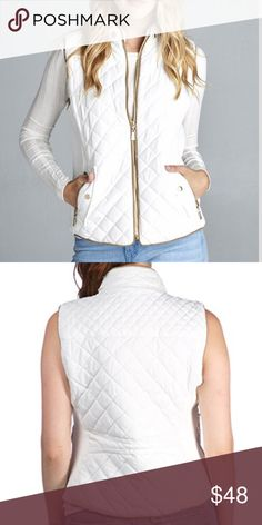 QUILTED PADDED VEST WITH SUEDE DETAIL QUILTED PADDED VEST WITH SUEDE PIPING DETAIL.  Runs true to size. Jackets & Coats Vests