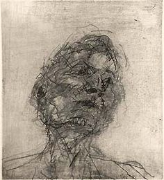 Frank Auerbach - Portrait of Lucian Freud, 1980 Life Drawing, Figure Drawing, Drawing Sketches, Painting & Drawing, Art Drawings, Painting Prints, Frank Auerbach, Lucian Freud, Portraits