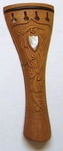 Hand Carved Inlay Boxwood Violin Tailpiece, 4/4 Size by SKY. $14.99