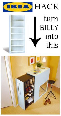 Flurmöbel selber bauen - Awesome IKEA Hack: You can turn a Billy shelf in an extendable shoe rack in just a few steps. Just - : Flurmöbel selber bauen - Awesome IKEA Hack: You can turn a Billy shelf in an extendable shoe rack in just a few steps. Just - Diy Hanging Shelves, Wall Shelves, Diy Home Decor Projects, Diy Projects To Try, Design Projects, House Projects, Decor Ideas, Diy Ideas, Design Ideas