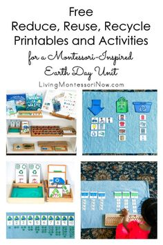 Free reduce, reuse, recycle printables and hands-on activities. Perfect for homeschool or classroom for Earth Day or any time of year - Living Montessori Now Preschool Themes, Montessori Activities, Montessori Homeschool, Preschool Activities, Homeschooling, Covalent Bonding Worksheet, Sand Writing, Do A Dot, Earth Day Activities