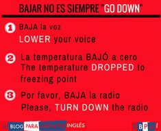 Spanish vocabulary - Bajar