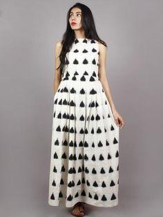 Ivory Black Long Sleeveless Handwoven Double Ikat Dress With Knife Pleats & Side Pockets - Muslim Fashion, Indian Fashion, Indian Maternity Wear, Indian Dresses, Indian Long Frocks, Indian Suits, Western Dresses, Indian Clothes, Western Outfits