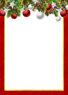 Red Transparent PNG Christmas Photo Frame with Christmas Balls