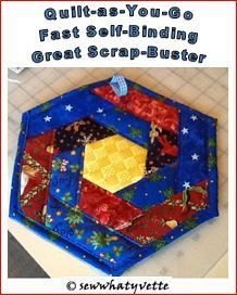 This is a great scrapbuster! I used scraps of Christmas fabrics, and my next one will be in reds and pinks for Valentines. Quilt as you go Hexagon Hot Mat Supplies: 15″ square of a busy…