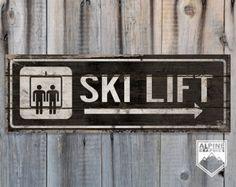 SKI LIFT original Alpine Graphics illustration - Wood Sign TS10_V