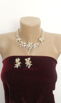 Bridal Set with Pearls Rhinestones Necklace Earrings by gebridal, $155.00