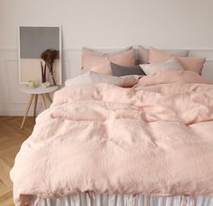 READY TO SHIP Washed Blush Coral Pink Tie Closure Linen Soft Twin / Queen / King Size Bedding Set