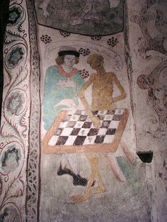He who never loses  Life is a game: Death Playing Chess from Täby Church in Sweden