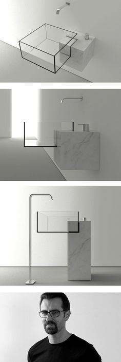 Milan-based architect #VictorVasilev designed KUB, a nearly invisible bathroom sink. The minimal design is available in two sizes and features a combination of marble and glass.