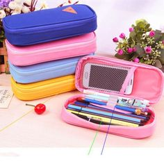 canvas pencil case on sale at reasonable prices, buy Korean Style Candy Color Canvas Pencil Case Multifunction Stationery Storage Organizer Bag School Supply Escolar Papelaria 1 PC from mobile site on Aliexpress Now! Pencil Bags, Pencil Pouch, Cute Pencil Case, School Stationery, College Years, Back To School Supplies, School Hacks, School Organization, Ebay