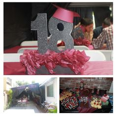 Graduation Decorations Red Black And White Grad Party Ideas - Table decoration ideas for 18th birthday