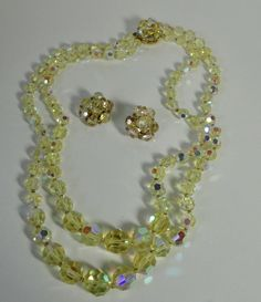 1950s Yellow Faceted AB Rock Crystal 2 Strands Necklace and Earrings Set. by Cosasraras on Etsy