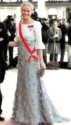 Mette-Marit, Crown Princess of Norway. With Amethyst necklace tiara at the galashow before the Crown Princess wedding 2010.