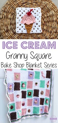 Crochet Ice Cream Granny Square: Bake Shop Blanket Series | Free Pattern from Sewrella
