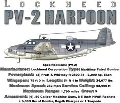 WARBIRDSHIRTS.COM presents WWII T-Shirts, Polos, and Caps, Fighters, Bombers, Recon, Attack, World War Two. The PV-2 Harpoon