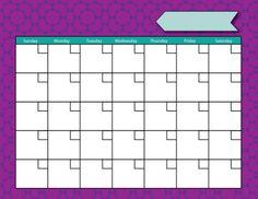 Blank Calendar Free Printables - Love Note Printables - Free Customizable Printables
