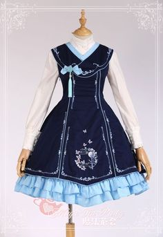 Sweet Cotten Chinese Style Coloured Embroidery Magic Tea Party Lolita Jumper Dress