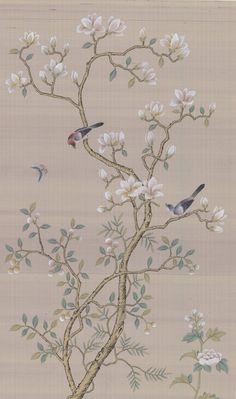 Chinoiserie Handpainted Artwork Panel Size 31 x 51 We are devoted to artistic silk handpainting and Silk Wallpaper, Hand Painted Wallpaper, Chinoiserie Wallpaper, Chinoiserie Chic, Wall Murals, Wall Art, Japanese Art, Painting, Decoration