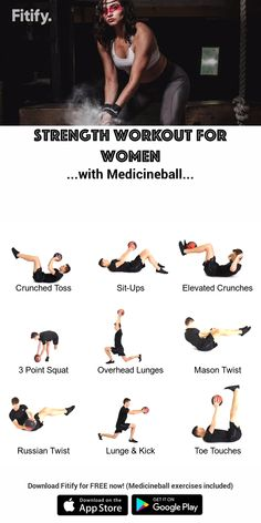 Full-Body Workout with Medicineball for Women - Dumbbell - Ideas of Dumbbell - Strong & Fit Full body training with a Medicineball Combination of upper body core and lower body strength… Gym Workouts, At Home Workouts, Fitness Exercises, Workout Exercises, Yoga Fitness, Fitness Plan, Dumbbell Workout, Trx Workouts For Women, Dumbbell Exercises For Women