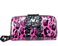 Skull Pink Leopard Embossed Wallet by Loungefly